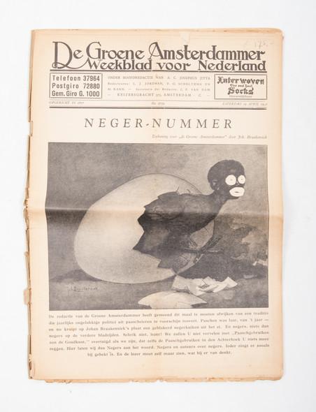 De voorkant van het N****-nummer van De Groene Amsterdammer uit 1930, met een van de eerste artikelen waarin stelling wordt genomen tegen zwarte piet.