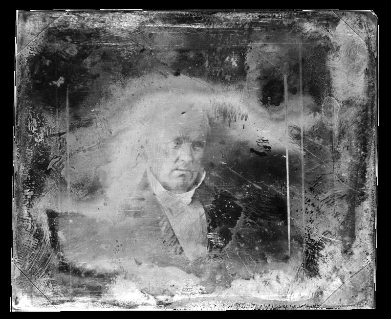 Beschadigde daguerreotypie uit de 19de eeuw, een van de allereerste foto's. Meer dan één afdruk maken per foto was bij dit procedé niet mogelijk. Bron: Library of Congress.