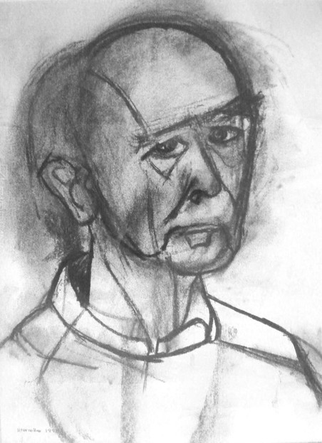 Zelfportret van William Utermohlen uit 1995.