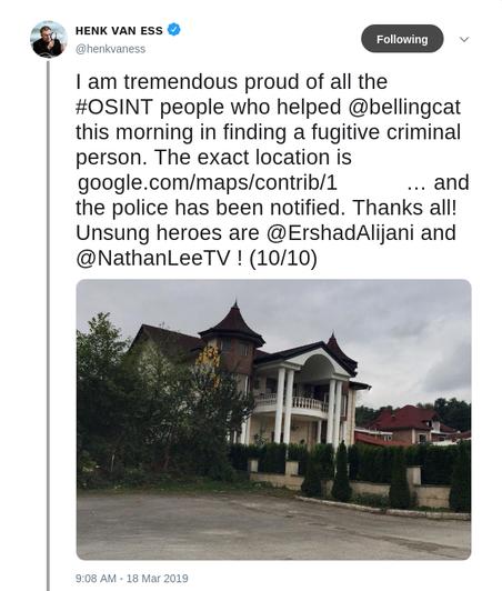 De tweet die Van Ess de wereld in kon sturen nadat hij de voortvluchtige gevonden had